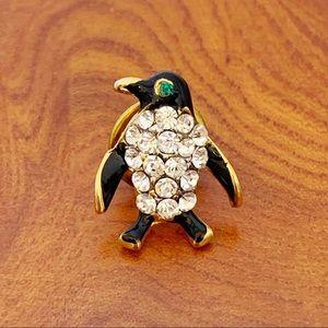 Mini Black Enamel Rhinestone Penguin Lapel Tie Pin
